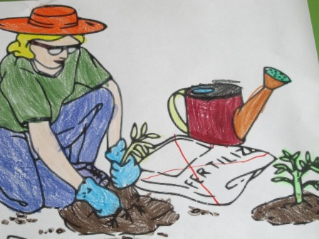 "Anna Seacat's daughter colored a picture of a farmer tending fun, green food. She told the farmer ""Do NOT use the fertilizer, because it is bad for you and the earth!"""