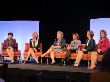 Traci Dolan, Chief Administrative Officer at ExactTarget, Inc. (second from left),  sits among other famous business leaders a the 2013 Indiana Governor's Conference. | Anna Seacat | SociallyMIndedMarketing.com |