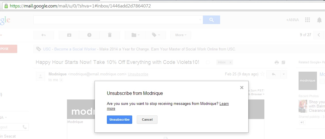 Gmail's Unsubscribe Link Keeps Customers From Being Redirected to Your Website| Socially Minded Marketing | @AnnaSeacat