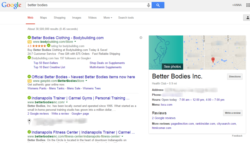 A image of Google returning one result for business name