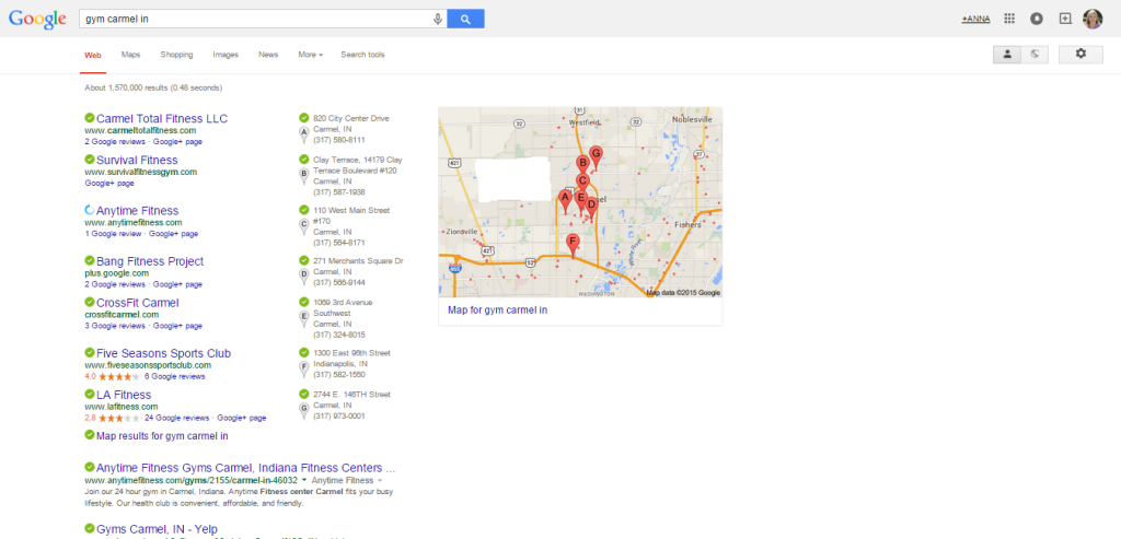 This is an image of a Google SERP result for the keyword phrase gym carmel indiana