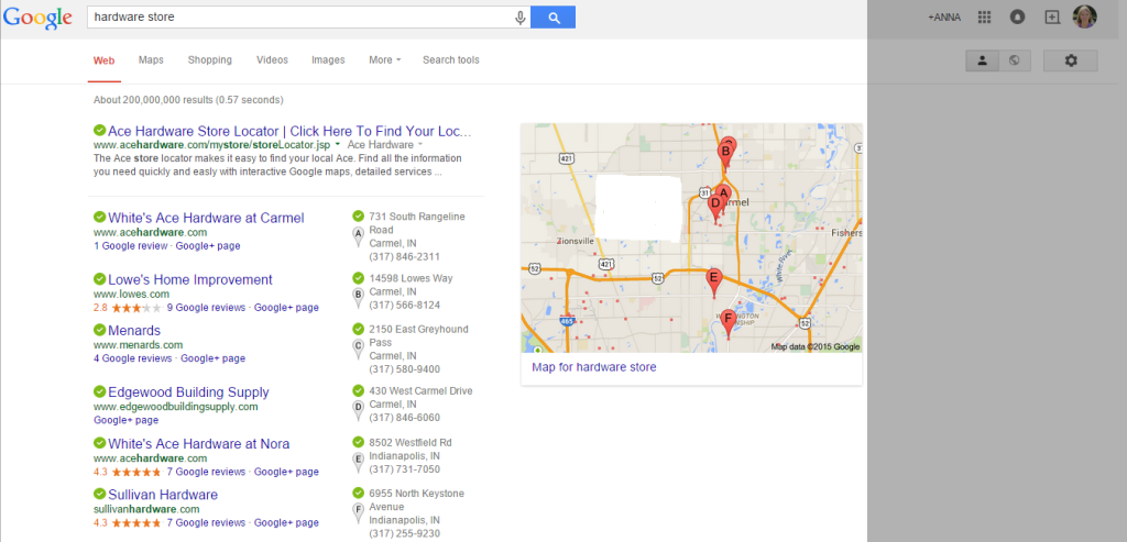 This is an image for the SERP for Hardware store in Carmel IN