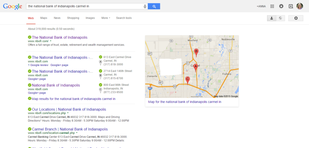 This image shows that Google is leaving some businesses out of its results