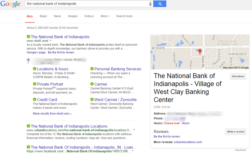 This is the search results page from Google explaining why multiple locations of business is not showing up